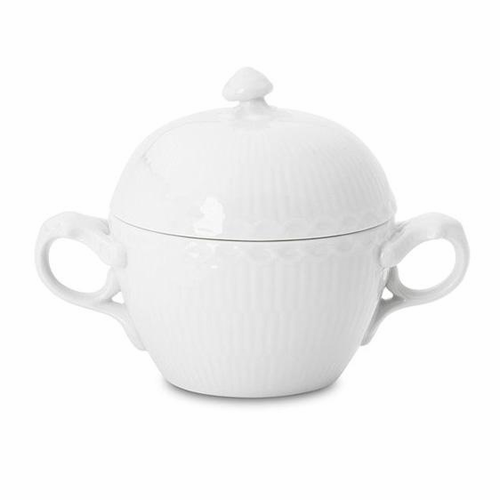 Royal Copenhagen White Fluted Half Lace Sugar Bowl with Lid