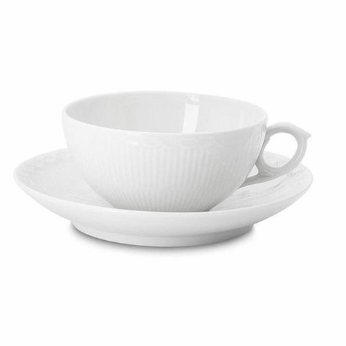 White Fluted Half Lace Tea Cup & Saucer
