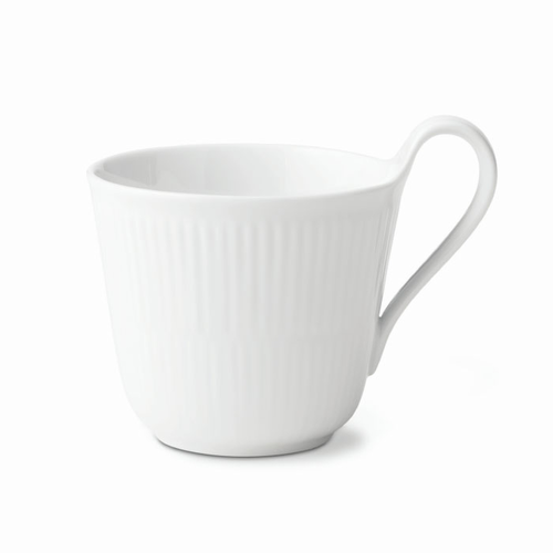 White Fluted High Handled Mug, 11 oz