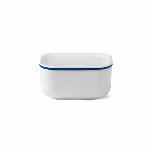 White Fluted Plain Butter Jar with Lid