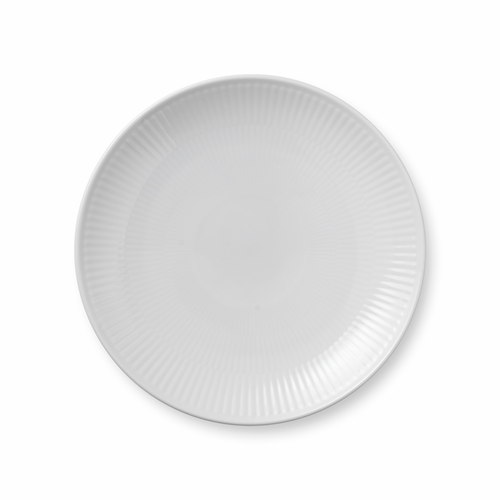 White Fluted Plain Dessert Plate Coupe, 7.5""