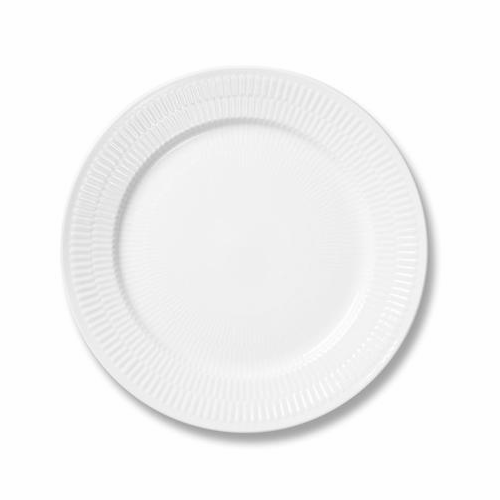 White Fluted Plain Dinner Plate
