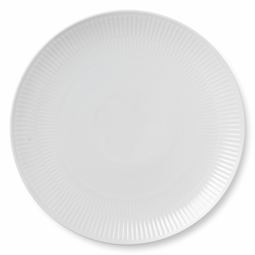 White Fluted Plain Dinner Plate Coupe, 10.75""