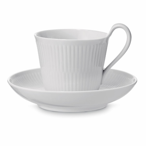 White Fluted Plain High Handled Cup & Saucer