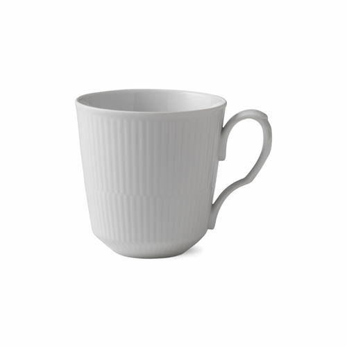 White Fluted Plain Latte Mug with Handle, 15.5oz