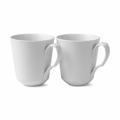White Fluted Plain Mug Set of 2, 12.25oz