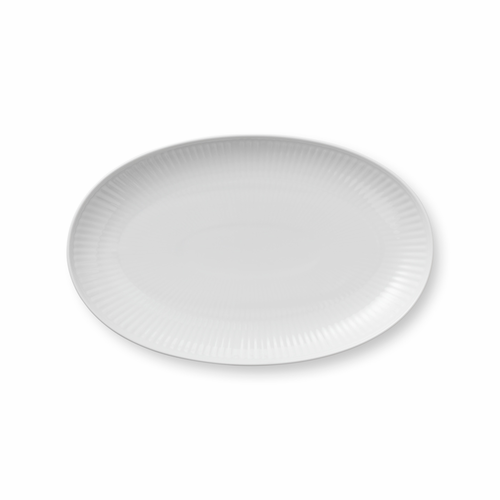 White Fluted Plain Oval Accent Dish