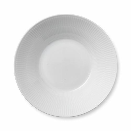 White Fluted Plain Pasta Bowl, 9.5""