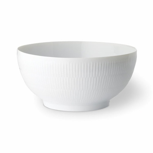 White Fluted Plain Serving Bowl, 3.25 qt
