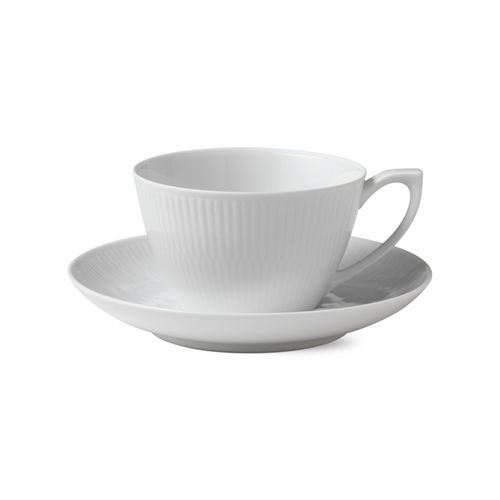 White Fluted Plain Tea Cup and Saucer