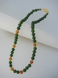 Green Jade  and  Baltic Amber  Beaded  Vermeil  Necklace