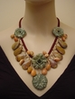 Artistic Hand Made Gemstone Jewelry. Hawaiian Flower Necklace.