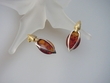 Contemporary Baltic Amber Earrings Set in Sterling Silver and Vermeil