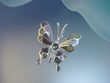Black Mother of Pearl Sterling Silver Butterfly Pendant Necklace.