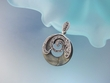 Marcasite and Black Mother of Pearl Sterling Silver Pendant Necklace