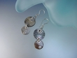 Dangle Grey  Mother of Pearl Earrings set in Sterling silver