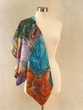 Hand Painted Silk Scarf.Artistic Women's Accessory.