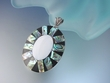 Large  Abalone & Mother of Pearl  Inlay Pendant  with Streling Silver