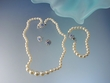 Ivory Pearl & Sapphire Color Crystal  Necklace, Bracelet & Earrings