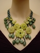 Artisan Crafted Jade Jewelry. Natural Gemstone Flower Necklace.