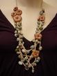 Long Flower Gemstone Necklace. Crocheted Malachite and Jasper Jewelry.
