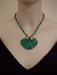 Genuine Malachite Pendant Necklace.Srerling Silver Jewelry.
