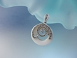 White Mother of Pearl and Marcasite Sterling Silver Pendant Necklace