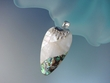 Artistic Mother of Pearl and Abalone Shell Sterling Silver Pendant Necklace