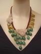 Petrified Wood Agate and Aventurine Jewelry. Hand-crocheted Necklace.