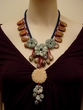 Snakeskin Jasper and Red Malachite Pendant Necklace.