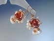Delicate Pink Vermeil Roses with White Shell Earrings