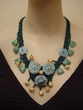 Unique Amazonite Carved Flower Necklace with Aventurine Beads.