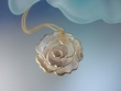 Exotic Natural Mother of Pearl  Flower Pendant Necklace