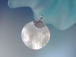 Round Mother of Pearl  Sterling Silver Pendant Necklace