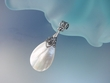 White Mother of Pearl  Sterling Silver Pendant Necklace