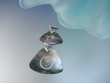 Geometric Mother of Pearl Sterling Silver Pendant Necklace