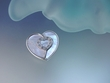 Blue  Mother  of  Pearl  and CZ Heart  Brooch