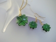 Green  Clover  Swarovski  Necklace and  Earrings Set