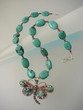 Green Turquoise / Red Coral  Butterflay  Sterling Silver Necklace