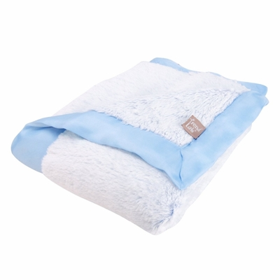 Trend Lab Blue Peek-A-Boo Faux Fur Receiving Blanket