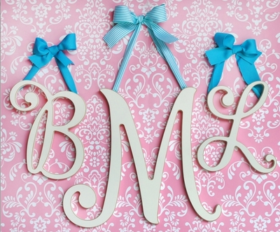 Large Cursive Letters - Cottage White