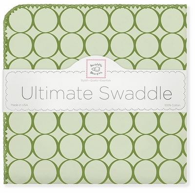 SwaddleDesigns Ultimate Receiving Blanket Pure Green Mod Circles