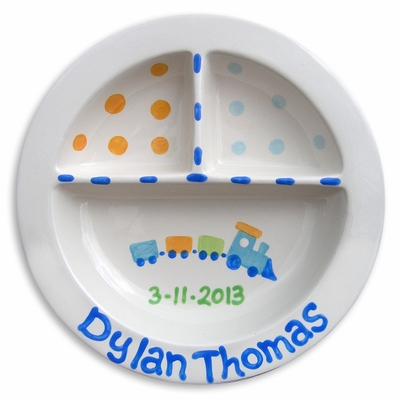Choo Choo Train Personalized Hand Painted Ceramic Plate