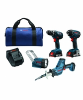 BOSCH CLPK495A-181 - 18V 4-Tool Combo Kit w/ 1/2 In. Drill/Driver, 1/4 In. Hex Impact Driver, Compact Reciprocating Saw and Flashlight