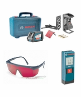 BOSCH GLL2-50-Kit w/Cross-Line Laser, Laser Glasses & Distance Laser Measure