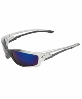 EDGE Eyewear SK118 Kazbek - Silver & Black / Blue Mirror Safety Glasses