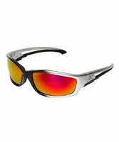 EDGE Eyewear SKAP119 Silver & Black / Aqua Precision Red Mirror Safety Glasses