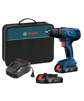 BOSCH GSR18V-190B22 18V Compact 1/2 In. Drill/Driver Kit with (2) 1.5 Ah SlimPack Batteries