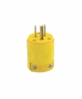 Leviton 244YL 515PV 15 AMP 125 Volt Grounded Plug with Clamp - Yellow