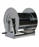 "Reelcraft HS37000-LS 1"" x 100' Hand Crank Stainless Hose Reel, 500 PSI No Hose"